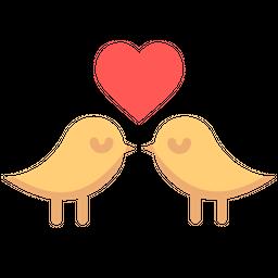Love, Romantic, Valentine, Day, Heart, Birds Icon