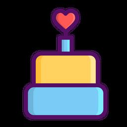 Love, Romantic, Valentine, Day, Heart, Cake, Dessert Icon