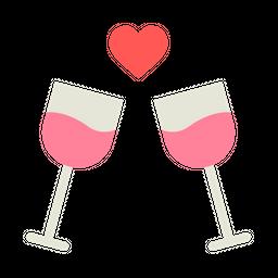 Love, Romantic, Valentine, Wine, Alchohol, Date, Dinner Icon