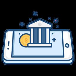 Mobile, Concept, Bank, Coin, Money, Income, Finance Icon