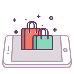 Mobile, Concept, Shop, Store, Online, Shopping, Carrybag, Bag Icon