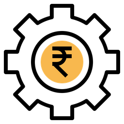 Money, Management, Indian, Rupee, Optimization, Gear Icon