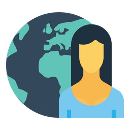 Office, Business, Employee, Woman, Earth, Planet, Globe Icon