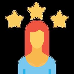 Office, Employee, Woman, User, Person, Avatar, Star, Achievement Icon