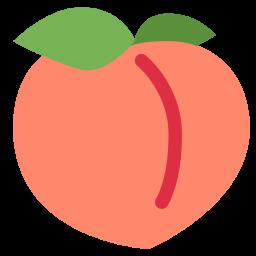 Peach, Fruit, Emoj, Symbol, Food Emoji Icon