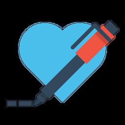 Pen, Pencil, Write, Draw, Design, Heart, Like, Favorite Icon