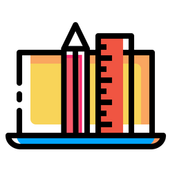 Pencil, Ruler, Laptop, Device, Drawing, Design Icon