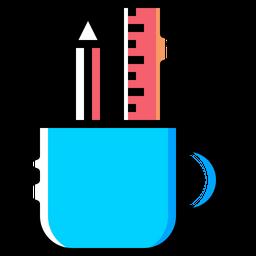 Pencil, Ruler, Mug, Holder, Design, Drawing, Write Icon