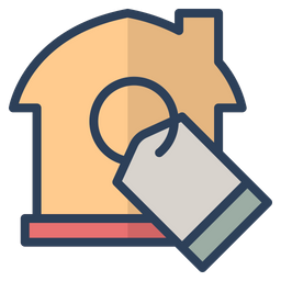 Real Estate Rate Colored Outline Icon