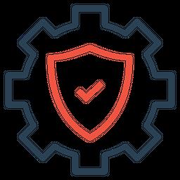 Settings, Gear, Shield, Secure Icon