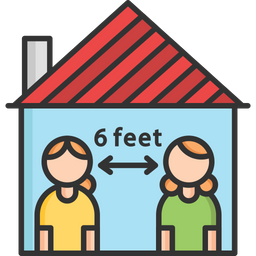 Social Distance In Home Colored Outline Icon