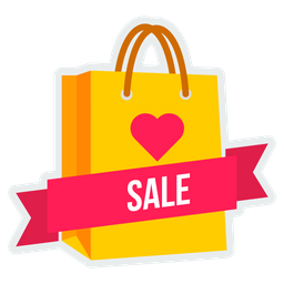 Valentine, Sale, Offer, Shopping, Carry, Bag, Cart Icon