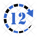 12 Hours Clock Time Icon
