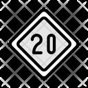 20 Speed Speedlimit Traffic Icon