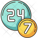 24 7 Circle Badge Icon