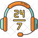 24 7 Hour Support Icon