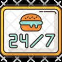 24 7 Open Burger Icon