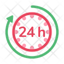 Ecommerce 24 Hour 24 Hour Sign Icon