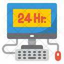 24 Hour Service Hour Computer Icon