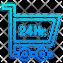 24 Hour Shopping Shopping Shopping Cart Icon