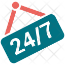 24 hour signboard Icon