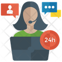 24 Hour Support Customer Representative Customer Service Icon
