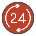 24 Hours 24 Hrs Icon