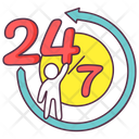 Anticlockwise 247 Service 24 Hr Service Icon