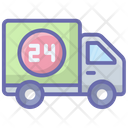 24 Hr Delivery Shipping Truck Cargo Icon