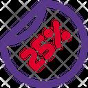25 Percent Label Icon
