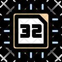 32 Bits Processor Chip Processor Icon