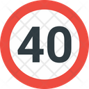 40 Speed Limit Speed Limit Road Icon