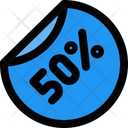 50 Percent Label Icon