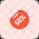 50 Percent Label Percent Label Discount Sticker Icon