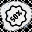 50 Percent Sticker Discount Sticker Percent Label Icon