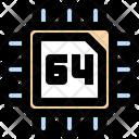 64 Bits Processor Chip Processor Icon
