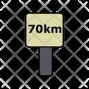 70 Km Distance Board Icon
