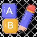 Ab Writing Ab Learning Basic Education Icon