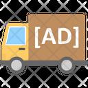 Ad Van Advertising On Transport Outdoor Media Icon