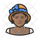 African Woman Cloche Hat Icon