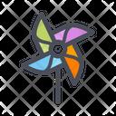 Air Fan Toy Beach Air Fan Toy Flat Paper Pinwheel Icon