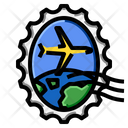 Airplane Oval World Stamp Icon