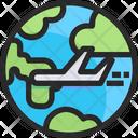 Airplane Travel International Flight World Tour Icon
