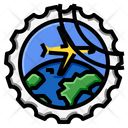 Airplane World Circle Stamp Icon