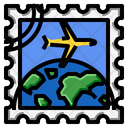 Airplane World Stamp Icon