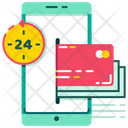 All Time Payment Hour Service Digital Wallet Icon