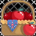 Apple Bucket Apple Basket Fruit Bucket Icon