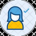 Approve Female User Icon