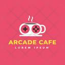 Arcade Cafe Hot Coffee Cafe Logomark Icon