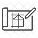 Architecture Blueprint Building Icon